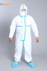 우수 품질 처분할 수 있는 안전 파란 Taping를 가진 방어적인 격리 가운 작업복