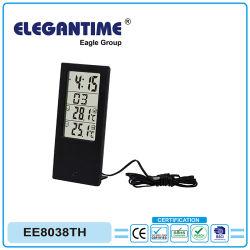LCD de Digitale Binnen en OpenluchtMonitor van de Thermometer & van de Hygrometer met Klok, de Sensor van de Kabel, Batterij