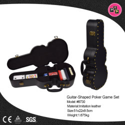 Nouvelle conception de la forme de guitare de boîte de rangement en cuir pour jeux de poker (8730)