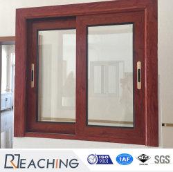 Ökonomische Stärken-hölzernes Korn-Aluminiumlegierung-schiebendes Fenster des Preis-1.2mm