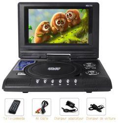 Usine de 7 pouces, lecteur de DVD portable avec écran pivotant de 3 heures, batterie rechargeable