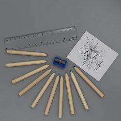 La cancelleria poco costosa di studio ha impostato con il quaderno da disegno delle pagine il righello/Sharpener/20 e la matita di colore di 3.5 '' 10 PCS
