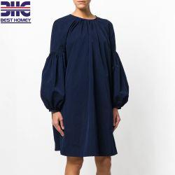Les femmes Printemps Été Marine Batwing Bell manchon Cupra tissé nuque robes de conception