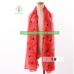 Scialle musulmano stampato ragno europeo viscoso della sciarpa delle donne di modo di 100%
