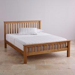 素朴なビンテージオーク無垢材、シングルベッド、ダブルベッド、クイーンサイズのベッド ベッド