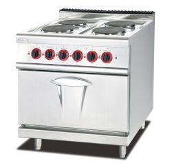 Equipamento de cozinha cozinha comercial alcance com 4 queimadores placa quente e forno eléctrico
