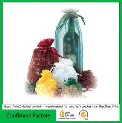 Favor de la boda de alta calidad bolsa de regalo de organza con cinta de satén