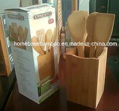 A FDA LFGB utensílio de cozinha em bambu utensílios ferramentas espátulas colher Goteira de panela