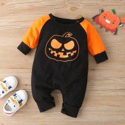 Säuglingskleinkind-Baby-Mädchen-Kürbis-Overall-Bodysuit-langes Hülsen-Spielanzug-Halloween-Kostüm Esg16398