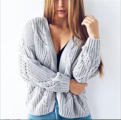 3명의 색깔 여자의 가을 봄 크로셰 뜨개질을%s 뜨개질을 하는 카디건 스웨터