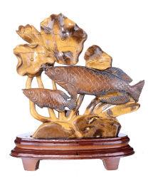 자연적인 Tiger Eye Carved Fishes Carving #Ae69, Exquisite Home Decoration의 Pair