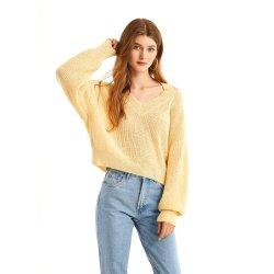 Les femmes du nouveau mode de printemps de vêtements à manches longues col V pull Pull