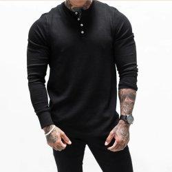 Dos homens Suéter Waffle Fina de Manga Longa Gola Suporte Pulôver Camisolas homens Fashion Business Casual atingiu camisas