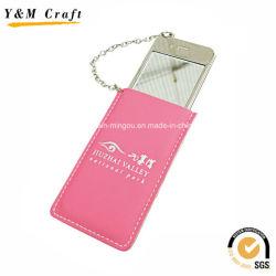 Teléfono móvil de cuero de diseño de pequeños espejos de plata Personalizar YM1154