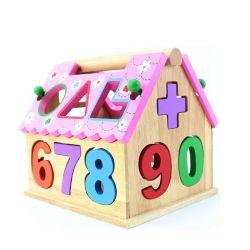 Hölzernes Haus-geformtes Spielzeug für Kinder 1 Jahr herauf die pädagogische Form-Zahl-Farbe, die hölzernes Spielzeug für VorschulBaby-Mädchen als Ablagekasten sortierend abgleicht