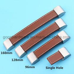 Traitements de porte en cuir pour des molettes de traction de tiroir de compartiment de garde-robe de Module
