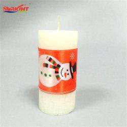 Llanura blanca larga cinta de muñeco de nieve para regalo de Navidad vela pilar