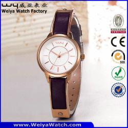 Mode Usine Quartz sangle en cuir Mesdames montre-bracelet personnalisé (Wy-103A)