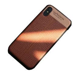 غطاء حقيبة هاتف من الجلد بنمط Litchi لجهاز iPhone X