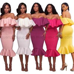 Polyester OEM Fashion sexy robe de soirée sans manches colorés tube