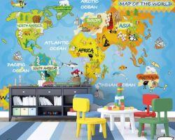 Carton/latex/UV /Version imprimable /3D/, carte du monde, pour les enfants salle jet d'encre, papier/papier peint mural