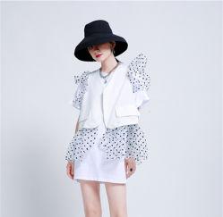 Los encajes de moda costura Crochet Chaleco + Camiseta de manga corta vestido Traje dos piezas