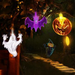 Indicatori luminosi di Halloween (20 zucche arancioni del LED, blocchi viola, fantasmi bianchi), indicatori luminosi a pile della stringa per le decorazioni di Halloween esterne & dell'interno