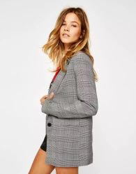 프론트 포켓 버튼 격자무늬 윈터 미드터 여성용 블레이저스 캐주얼 패션 무저 아웃웨어