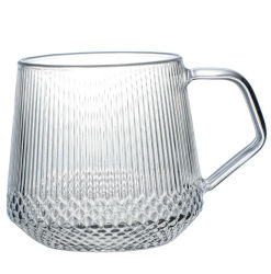 Squama様式の接触感じのStrapeのカラーハンドルが付いているガラスティーカップのティーポットセット