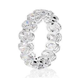 Mode bijoux de luxe de zircon ovale Silver Band Ring