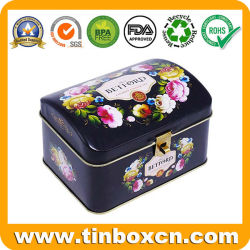 Arch façonner le métal peuvent l'emballage alimentaire boîte thé anglais favori de l'étain avec gaufrage et pour les dons de verrouillage