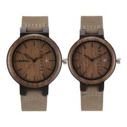 제조업체 천연 대나무 수공예 목재 시계 천연 가죽 스트랩