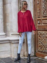 Slanna Ladied Streetwear manchon rouge long T Shirts Casual O cou lâche tés d'hiver Haut de page