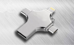 4 в 1 флэш-накопитель USB OTG внешних систем хранения данных карты памяти Memory Stick тип USB-C портов для Apple iPhone iPad Ios Android Планшетные ПК Mac®