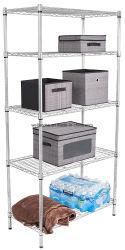 卸売ホーム記憶ラック構成のための単位5つの層のクロム鋼ワイヤー棚付けの