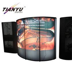 Tejido de la pantalla emergente Pop up Stand exposición con luz retroiluminado.