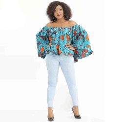 여성용 디시키 어깨 위 긴팔 블라우스 아프리카 프린트 여성용 셔츠