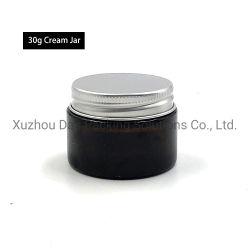 Banheira de venda barato 1oz de vidro âmbar jarra de cosméticos com tampa de alumínio