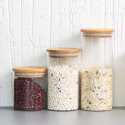 Cina Commercio all'ingrosso borosilicato alto 4 Oz/8 Oz/10 Oz/12 Oz/16 Oz/32 Once con Bamboo/coperchi in legno vuoti/zucchero/flacone/vasetto per alimenti in vetro