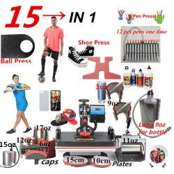 15 كلّ في 1 [كمبو] حرارة صحافة آلة, تصميد قلم صحافة آلة, محارة حرارة [ترنسفر مشن] لأنّ كرة/أحذية /Cap/Mug لوحة/[تشيرتس]/حالات