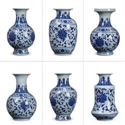 Artigianato blu e bianco del fiore del vaso di stile cinese fornire domestico dell'ornamento di ceramica dell'ufficio del vaso asciutto dell'oggetto d'antiquariato della porcellana del vaso