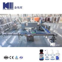 Automatic descartáveis antibacteriana 84 Desinfectante Líquido de enchimento de gel fluido álcool lave à mão purificador, mistura e enchimento do vaso de etiquetagem de nivelamento da máquina de embalagem