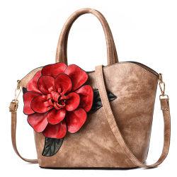 Fleur de haute qualité de grande capacité stéréoscopique Mesdames sac sac à main de luxe femmes distributeur designer de mode du marché de gros fourre-tout cuir de l'épaule à la mode