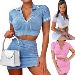 2021 Fashion дамы трикотажные повседневные вплотную верхний набор из двух частей женщин одежду 2 Кусок брюки, женщин плюс размер свитера юбки