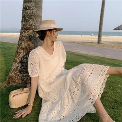 보호 캐주얼 의류 패션 여성용 우아한 화이트 코튼 셔츠 드레스
