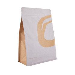 Fermeture à glissière personnalisé à fond plat de papier kraft brun café sac d'emballage