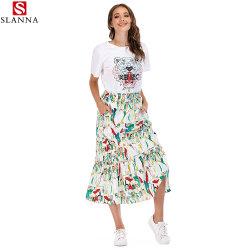 La mujer una línea Casual impreso animales faldas MIDI con T-Shirt Top
