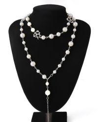 2020 年の結婚式の宝石類の方法真珠のチョーカーの水晶中心のネックレス ロングタッセルネックレスステンレススチール、女性用