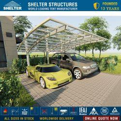 Exterior de aluminio de doble techo curvo transparentes cochera 2 Auto