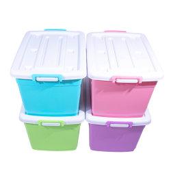 Cuadro de gran capacidad de almacenamiento multicolor, Recipiente de plástico con el rodillo